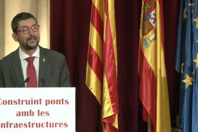 """El president de la Cambra de Barcelona, Joan Canadell, durant la jornada """"Construim ponts amb les infraestructures"""""""